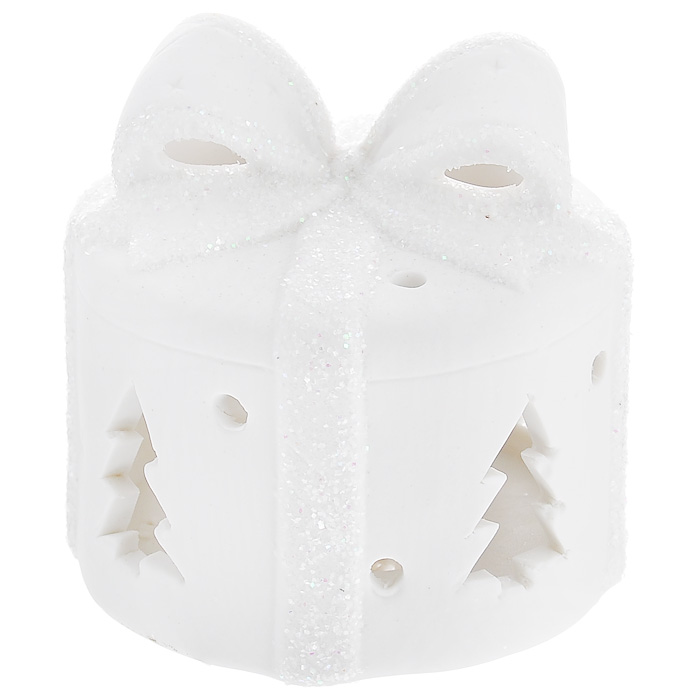 Новогоднее украшение Подарок, с внутренней подсветкой. 31076DP-B35-80559Новогоднее украшение, изготовленное из керамики, выполнено в виде подарка. Внутри украшения расположен светодиод, при включении мигающий разными цветами. Новогодние украшения всегда несут в себе волшебство и красоту праздника. Создайте в своем доме атмосферу тепла, веселья и радости, украшая его всей семьей. Характеристики:Материал: керамика. Цвет: белый. Размер украшения: 8,5 см х 8,5 см х 8,5 см. Размер упаковки: 8,5 см х 8,5 см х 9,5 см. Артикул: 31076. В комплект входит 2 элемента питания по 1,5 Вт.