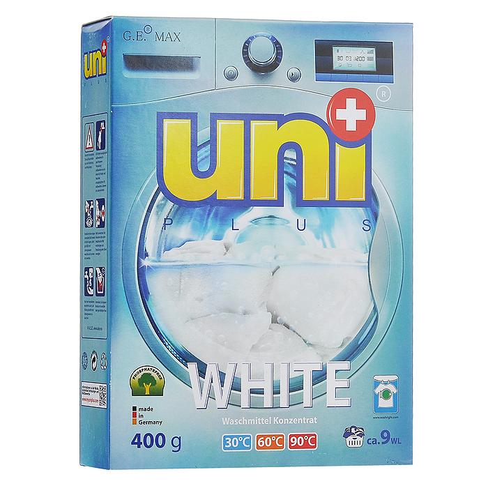 Стиральный порошок UniPlus White для белого белья, концентрированный, 400 г10503Концентрированный стиральный порошок UniPlus White специально разработан для стирки белого белья. Он отбеливает без хлора и агрессивных химикатов. Не разрушает структуру тканей. Отбеливает с помощью активных кислородных частиц, разработанных специально для UniPlus.Порошок предназначен для стирки в стиральных машинах любого типа и для ручной стирки. Эффективно отстирывает при температурах от 30°С до 90°С.Не подходит для стирки деликатных тканей и изделий из шерсти, а также темного и цветного белья.В состав входят смягчающие воду вещества, защищающие стиральную машину от образования известкового налета. Характеристики: Вес: 400 г. Размер упаковки: 19,5 см х 14,5 см х 4 см. Артикул: 200032. Товар сертифицирован.
