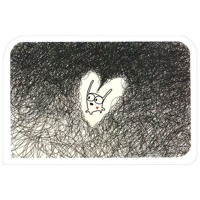 Открытка Люблю. Ручная авторская работа. OT018U210DFАвторская открытка Люблю станет необычным и ярким дополнением к подарку близкому человеку. Открытка оформлена изображением забавного зайца. Обратная сторона открытки не содержит текста, что позволит вам самостоятельно написать самые теплые и искренние пожелания. К открытке прилагается конверт. Характеристики:Материал: бумага. Размер: 15 см х 10 см. Артикул: OT018.