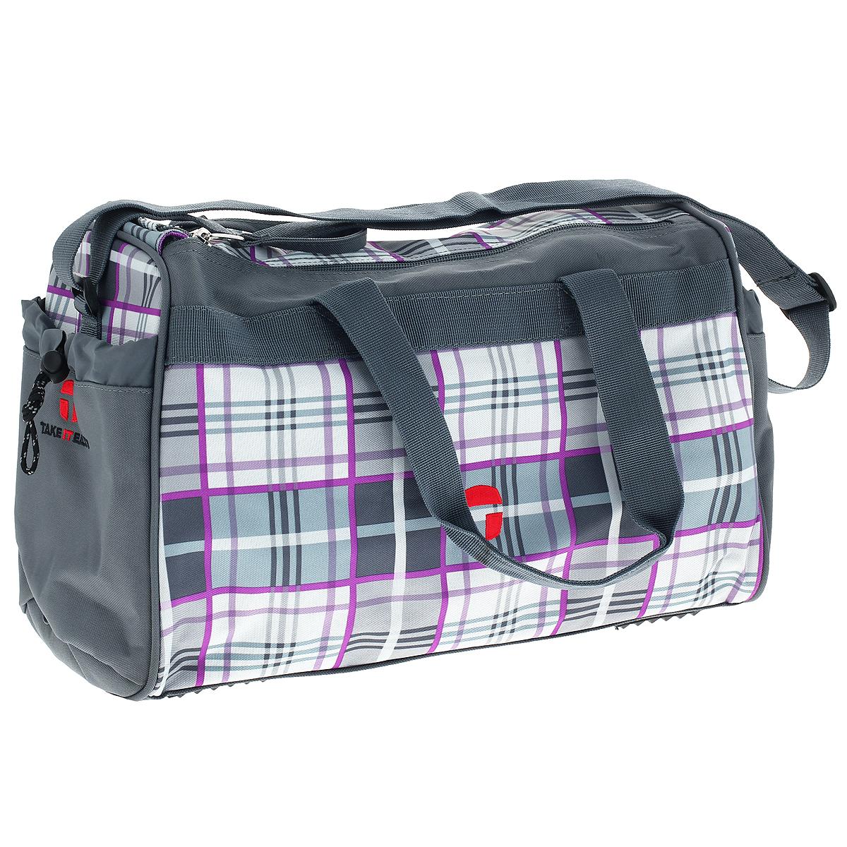 Сумка спортивная Take It Easy Килт, цвет: серыйBH-PSV0301(R)Спортивная сумка Take It Easy Килт предназначена для переноски спортивных вещей, обуви и инвентаря. Сумка ручной работы выполнена из современных резистентных материалов и оформлена графическим рисунком. Сумка имеет одно вместительное отделение, закрывающееся на две застежки-молнии. Бегунки на застежках соединены общим текстильным держателем. На тыльной стороне сумки расположен внешний карман для обуви, закрывающийся на застежку молнию. По бокам находятся два внешних кармана, затягивающиеся сверху текстильным шнурком с фиксатором. Спортивная сумка оснащена двумя текстильными ручками для переноски в руке и плечевым ремнем, регулируемым по длине. На дне сумки расположены четыре широкие пластиковые ножки, которые защитят ее от грязи и продлят срок службы. Характеристики: Материал: текстиль, пластик, металл. Размер сумки: 37 см х 20 см x 25 см. Объем сумки: 18 л.