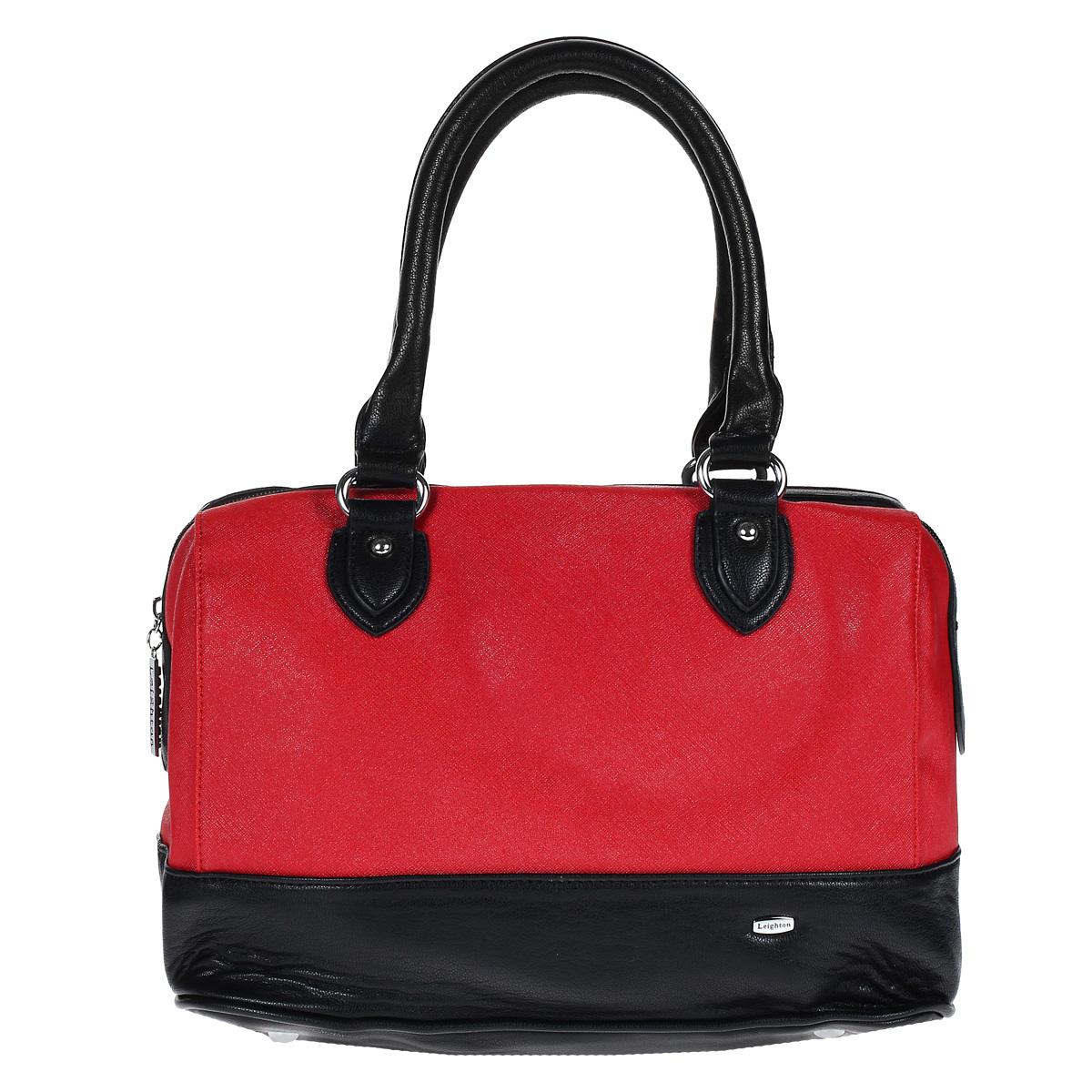 Сумка женская Leighton, цвет: красный, черный. 61044-3769/16/339/110130-11Стильная женская сумка Leighton выполнена из искусственной кожи и оформлена фактурным тиснением, металлической пластиной с названием бренда на лицевой стороне. Сумка имеет одно основное отделение, которое закрывается на застежку-молнию. Внутри - открытый карман с отделением на молнии, вшитый карман на молнии и два накладных кармашка для телефона и мелких бумаг. С задней стороны расположен дополнительный вшитый карман на молнии. Сумка оснащена двумя удобными ручками на металлических кольцах и отстегивающимся плечевым ремнем регулируемой длины. Фурнитура - серебристого цвета. На дне имеется 4 металлические ножки.Стильная сумка Leighton станет финальным штрихом в создании вашего неповторимого образа.Женская сумочка Leighton - это воплощение элегантности и шика. Высококачественные материалы, чистота линий, как выбор стиля, идут об руку с модными тенденциями. Обладательницей данной коллекции может быть только сильная и независимая женщина, бросающая вызов обыденности.