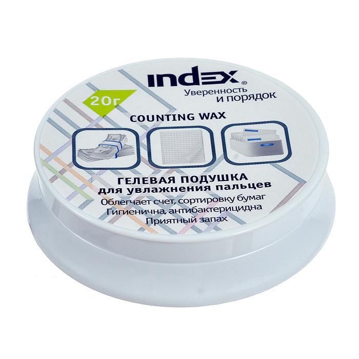 """Гелевая подушка """"Index"""" служит для смачивания пальцев при работе с бумагами. Подушка помещена в пластиковую баночку с мягкими ножками, предотвращающими скольжение по столу и повреждение поверхности. Гель имеет нежный ментоловый аромат, не прилипает и не оставляет следов на бумаге. Такая подушка незаменима при больших объемах работы с бумажными документами."""