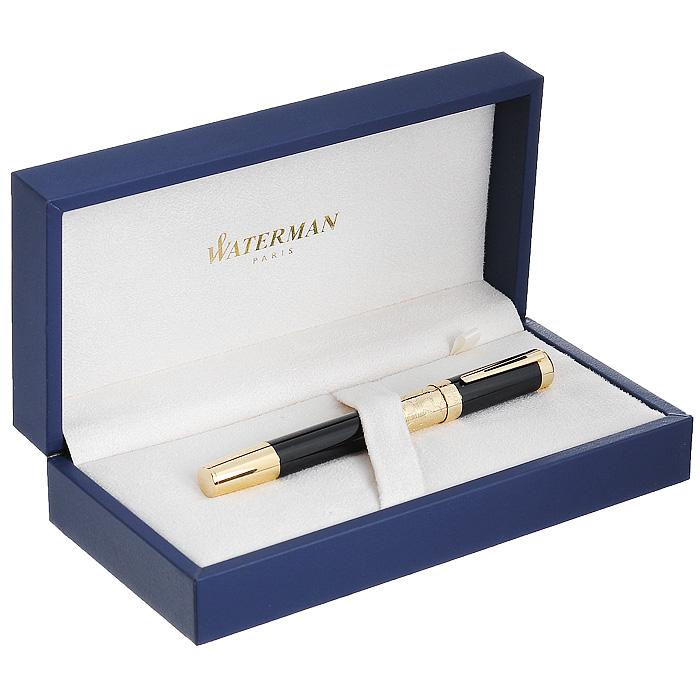 """Корпус ручки-роллера Waterman """"Elegance Black GT"""" выполнен из ювелирной латуни с многослойным высококачественным и особо прочным лаковым покрытием черного цвета. Отдельные элементы дизайна покрыты позолотой 23 карата. Кольцо колпачка имеет гравировку """"Waterman Paris"""". Кольцо на корпусе ручки декорировано затейливой гравировкой. Ручка имеет съемный колпачок. Ручка-роллер упакована в фирменный футляр с логотипом компании """"Waterman"""". В футляре предусмотрено дополнительное отделение, в котором расположен международный гарантийный талон. Эксклюзивная ручка Waterman """"Elegance Black GT"""" подчеркнет стиль и элегантность ее владельца и станет превосходным подарком ценителю изящества роскоши. Ручка - это не просто пишущий инструмент, это - часть имиджа, наглядно демонстрирующая статус, характер и образ жизни ее владельца."""