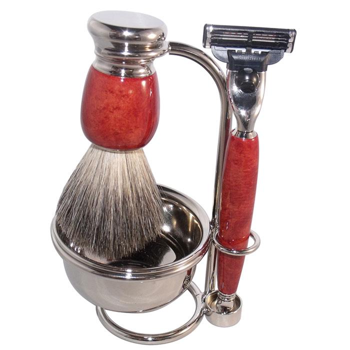 Бритвенный набор S.Quire, цвет: красно-коричневый. 6800401960Бритвенный набор S.Quire - станет отличным подарком для мужчины. Набор состоит из помазка, бритвенного станка, чаши и подставки под эти предметы.Помазок выполнен из тончайшего натурального ворса (чистый барсучий необрезанный волос). Бритвенный станок оснащен оригинальными лезвиями Mach 3 Turbo фирмы Gillette. Ручки станка и помазка выполнены из прочного пластика с элементами из высококачественной нержавеющей стали. Подставка изготовлена из высококачественной стали с нержавеющим и не тускнеющим покрытием.Такой набор отлично впишется в интерьер ванной комнаты. Характеристики:Материал: нержавеющая сталь, пластик, натуральная щетина. Длина бритвенного станка: 13,5 см. Длина помазка: 10,5 см. Диаметр чаши:7,5 см. Размер подставки: 13 см х 9 см х 6 см. Размер упаковки: 18 см х 9,5 см х 16 см. S.Quire - это коллекция модных, элегантных, стильных аксессуаров для мужчин, разработанная европейскими дизайнерами и отражающая все тенденции современной моды. В коллекцию S.Quire входит широкий ассортимент разнообразных товаров: фляги, заколки для галстуков, запонки, брелоки, бритвенные наборы, кружки, термосы, портсигары, пепельницы, изделия из кожи, винные аксессуары и наборы с различной комплектацией вышеперечисленных аксессуаров.