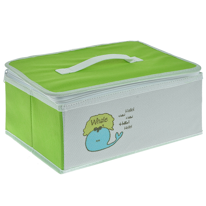 Коробка для хранения Hausmann Whale на молнии, цвет: салатовый, белый. BB211-374-0120Практичная и удобная коробка для хранения Hausmann Whale выполнена из вискозы белого и салатового цвета с изображением забавного кита. Такая коробка предназначена для хранения предметов для творчества и канцелярских принадлежностей. Внутри имеется два отделения, которые разделены съемной стенкой на липучке, два накладных кармашка и сетчатое отделение на крышке коробки. Крышка закрывается на молнию, имеет ручку для удобной переноски. Такая коробка сэкономит много места и сохранит порядок на столе вашего ребенка. Кроме того, коробка легко складывается и в сложенном виде не занимает много места. Легко очищается при помощи влажной ткани. Характеристики: Материал: вискоза, картон, текстиль. Размер коробки: 30,5 см х 20,5 см х 14 см. Цвет: белый, салатовый. Размер упаковки: 22 см х 32 см х 3 см. Артикул: BB211-3.