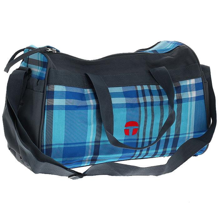 Сумка спортивная Take It Easy Атлантик, цвет: серый, голубой72523WDСпортивная сумка Take It Easy Атлантик предназначена для переноски спортивных вещей, обуви и инвентаря. Сумка ручной работы выполнена из современных резистентных материалов и оформлена графическим рисунком. Сумка имеет одно вместительное отделение, закрывающееся на две застежки-молнии. Бегунки на застежках соединены общим текстильным держателем. На тыльной стороне сумки расположен внешний карман для обуви, закрывающийся на застежку молнию. По бокам находятся два внешних кармана, затягивающиеся сверху текстильным шнурком с фиксатором. Спортивная сумка оснащена двумя текстильными ручками для переноски в руке и плечевым ремнем, регулируемым по длине. На дне сумки расположены четыре широкие пластиковые ножки, которые защитят ее от грязи и продлят срок службы. Характеристики: Материал: текстиль, пластик, металл. Размер сумки: 37 см х 20 см x 25 см. Объем сумки: 18 л.
