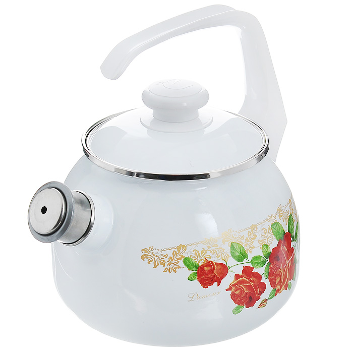 Чайник эмалированный Lamour, со свистком, 2,5 л68/5/3Чайник Lamour выполнен из высококачественной стали и покрыт эмалью белого цвета. Чайник имеет классическую форму, оснащен удобной ручкой. Корпус оформлен изображением цветов.Носик чайника имеет съемный свисток, звуковой сигнал которого подскажет, когда закипит вода.Такой чайник не требует особого ухода и его легко мыть.Благодаря классическому дизайну и удобству в использовании чайник займет достойное место на вашей кухне. Характеристики:Материал: сталь, эмаль, пластик.Цвет: белый.Объем: 2,5 л.Диаметр основания чайника: 17 см.Высота чайника с учетом ручки: 25 см.Размер упаковки: 25 см х 19 см х 19 см.