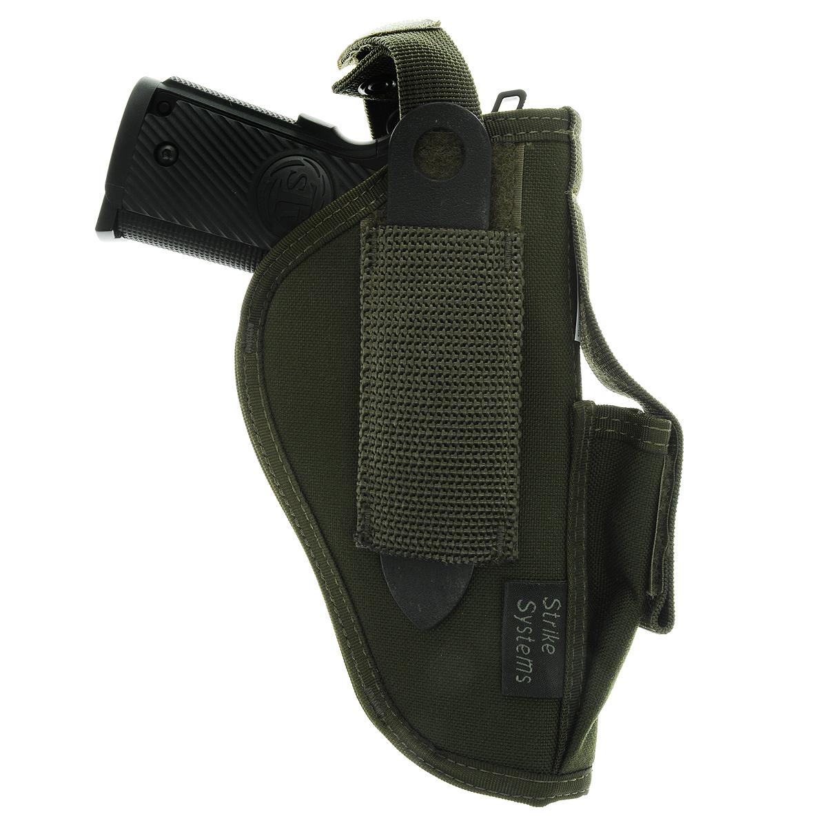 Кобура ASG поясная для M92, G17/18, STI, CZ, Steyr, Bersa, цвет: Olive Drab (17019)3B327Кобура поясная для пневматических и страйкбольных пистолетов серий M92, G17/18, STI, CZ, Steyr, Bersa (полноразмерные и среднеразмерные - Full Frame и Mid Frame) с подсумком для запасного магазина.Предназначена для ношения в тире и на полигоне. Показанные на фото оружие и аксессуары в комплект не входят. Не рассчитана на использование с боевым оружием.Подходит для левшей и правшей;В комплекте приспособление для удобной регулировки;Двойные швы;Из износостойкого и влагостойкого нейлона.Возвраттоваравозможен только при наличии заключения сервисного центра.Время работы сервисного центра: Пн-чт: 10.00-18.00 Пт: 10.00- 17.00Сб, Вс: выходные дниАдрес: ООО ГАТО, 121471, г.Москва,ул.ПетраАлексеева,д12., тел. (495)232-4670, gato@gato.ruХарактеристики: Материал: нейлон. Размер кобуры: 23 см х 14 см х 5 см. Размер упаковки: 23 см х 22 см х 5 см. Артикул: 17019.Уважаемые покупатели, обращаем Ваше внимание что авиадоставка в нижеперечисленные города этого товара временно недоступна! 1. Ангарск 2. Благовещенск 3. Бодайбо 4. Братск 5. Владивосток 6. Воркута 7. Иркутск 8. Калининград 9. Надым 10. Нарьян-Мар 11. Находка 12. Норильск 13. Петропавловск-Камчатский 14. Салехард 15. Улан-Удэ 16. Уссурийск 17. Ухта 18. Хабаровск 19. Чита 20. Энергетик 21. Южно-Сахалинск 22. Якутск