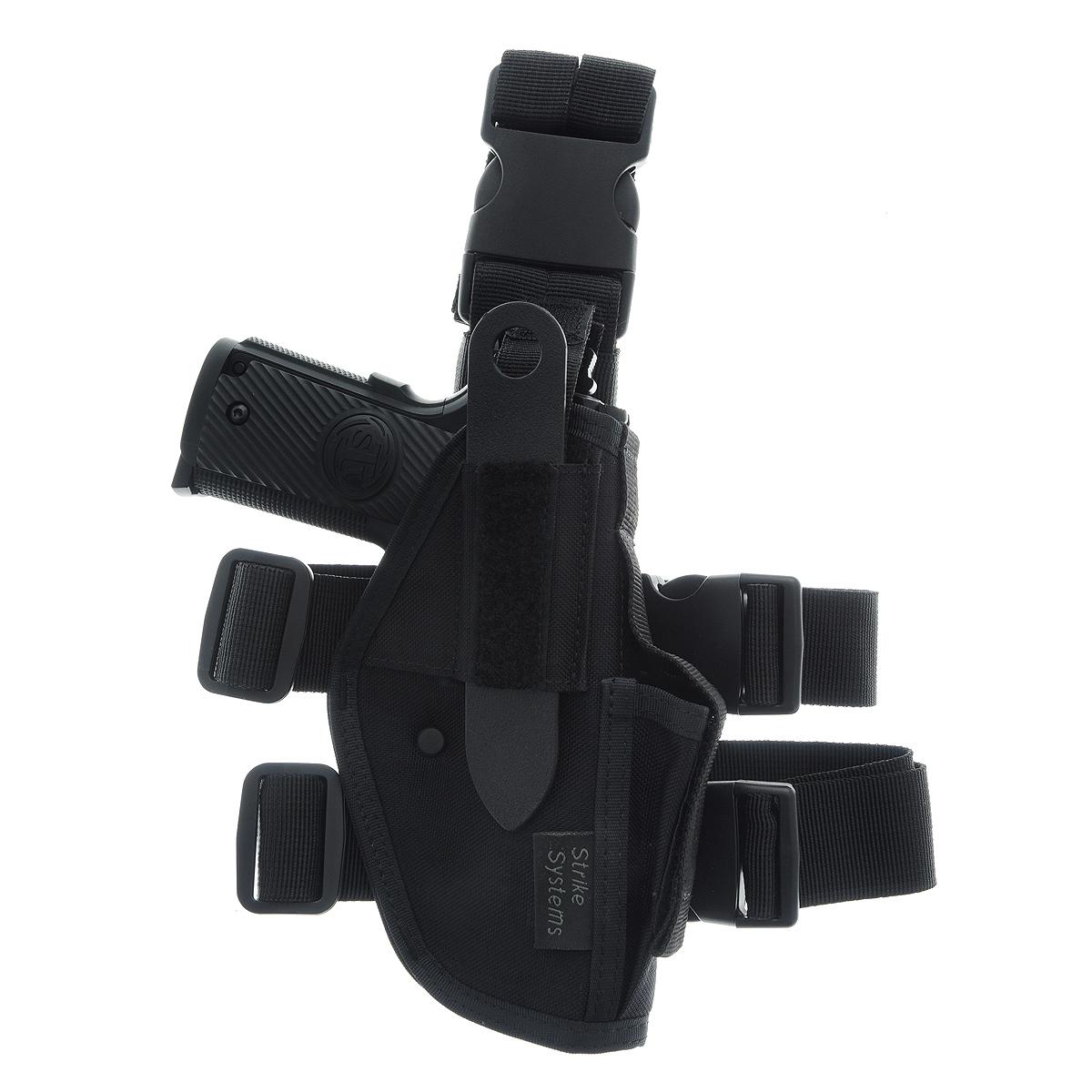 цены  Кобура ASG набедренная для M92, G17/18, STI, CZ, Steyr, Bersa, цвет: Black (11968)