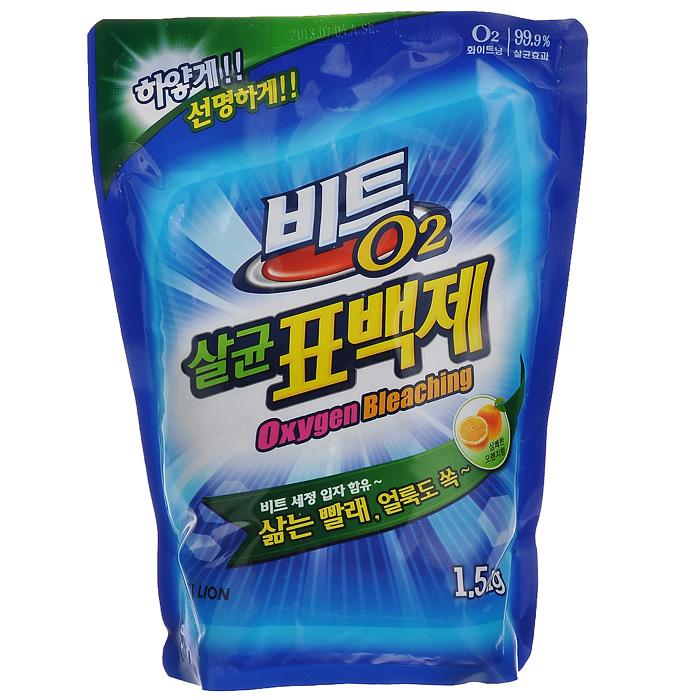 Кислородный отбеливатель Cj Lion Beat O2, с эффектом стерилизации, 1,5 кгZ-0307Кислородный отбеливатель Cj Lion Beat O2 предназначен для удаления трудновыводимых пятен, следов от фруктов, соков, травы, ржавчины, чая, загрязнений на воротничках и манжетах. Придает белизну белым вещам и яркость цветным, не повреждая структуру ткани. Обладает дезинфицирующим эффектом: уничтожает 99% бактерий (кишечную, дизентерийную, синегнойную палочки, сальмонеллу, клебсиеллу пневмонии, эндоспоры). Имеет противогрибковый и антиплесневый эффект (Anti-mold Effect). Предотвращает распространение плесени внутри стирального бака, преграждает попадание плесени в воду для стирки. Характеристики:Состав: натрий гидрокарбонат. Вес: 1,5 кг. Артикул: 612353. Товар сертифицирован.