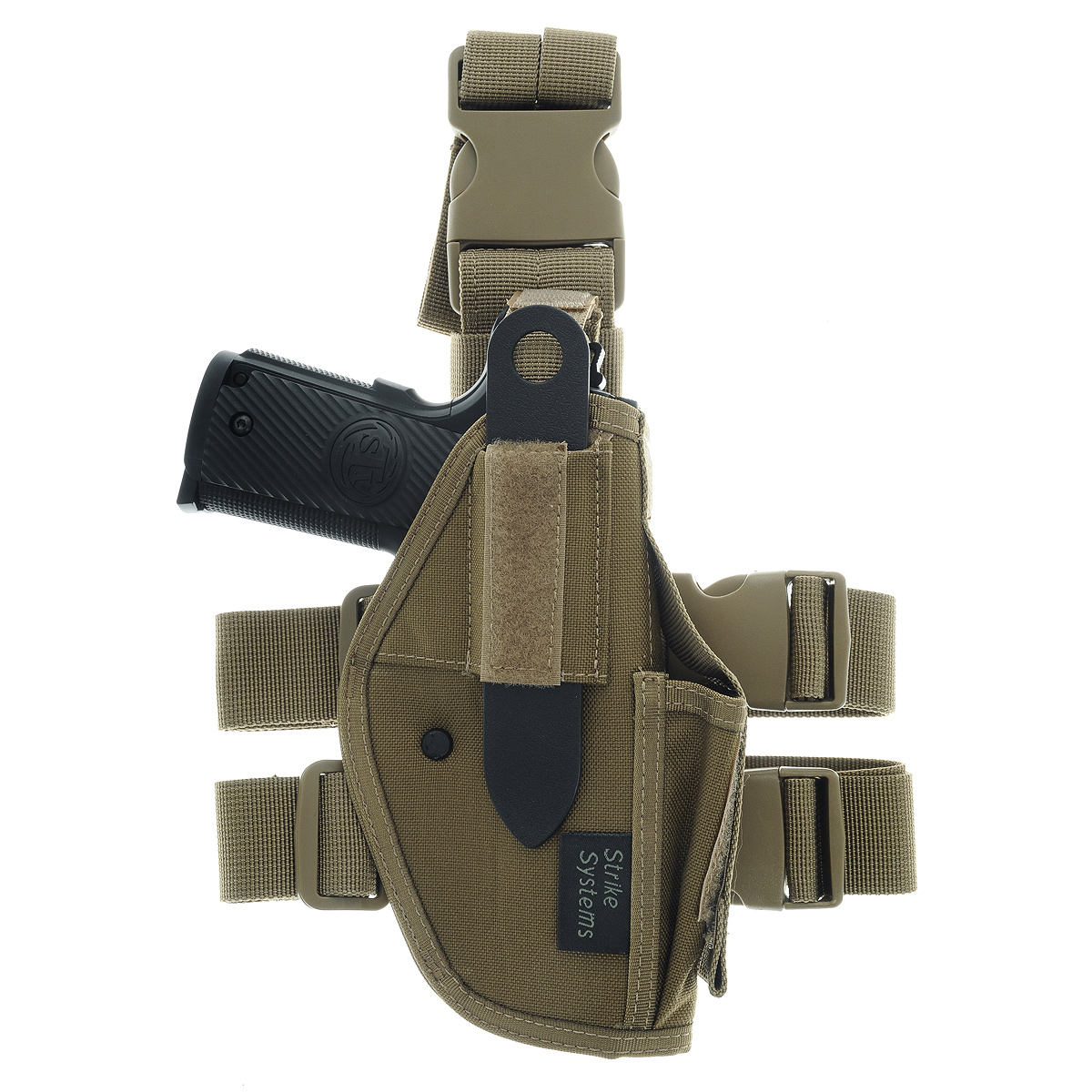 Кобура ASG набедренная для M92, G17/18, STI, CZ, Steyr, Bersa, цвет: Tan (17023)527Кобура набедренная для пневматических и страйкбольных пистолетов серий M92, G17/18, STI, CZ, Steyr, Bersa (полноразмерные и среднеразмерные - Full Frame и Mid Frame) с подсумком для запасного магазина.Предназначена для ношения в тире и на полигоне. Показанные на фото оружие и аксессуары в комплект не входят. Не рассчитана на использование с боевым оружием.Регулируется по высоте.Застежка-фастекс для быстрого снятия.Два эластичных ремня с застежками для бедра.В комплекте приспособление для удобной регулировки.Двойные швы.Из износостойкого и влагостойкого нейлона.Возвраттоваравозможен только при наличии заключения сервисного центра.Время работы сервисного центра: Пн-чт: 10.00-18.00 Пт: 10.00- 17.00Сб, Вс: выходные дниАдрес: ООО ГАТО, 121471, г.Москва,ул.ПетраАлексеева,д12., тел. (495)232-4670, gato@gato.ruХарактеристики: Материал: нейлон, пластик. Размер кобуры: 31 см х 12 см х 7 см. Размер упаковки: 36 см х 26 см х 7 см. Артикул: 11968. Уважаемые покупатели, обращаем Ваше внимание что авиадоставка в нижеперечисленные города этого товара временно недоступна! 1. Ангарск 2. Благовещенск 3. Бодайбо 4. Братск 5. Владивосток 6. Воркута 7. Иркутск 8. Калининград 9. Надым 10. Нарьян-Мар 11. Находка 12. Норильск 13. Петропавловск-Камчатский 14. Салехард 15. Улан-Удэ 16. Уссурийск 17. Ухта 18. Хабаровск 19. Чита 20. Энергетик 21. Южно-Сахалинск 22. Якутск
