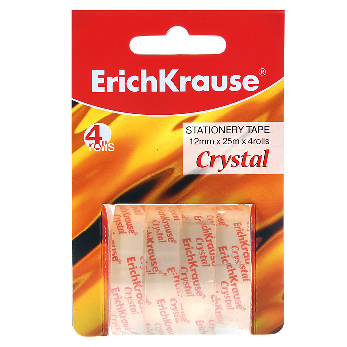 Клейкая лента Erich Crause Crystal, цвет: прозрачный, 4 штFS-00261Клейкая лента Erich Crause Crystal -универсальный помощник в доме и офисе. Лента предназначена для склеивания документов, упаковки, картона, имеет сильный клеящий состав.В комплекте 4 рулона. Характеристики:Диаметр рулона: 4,7 см. Длина ленты (в одном рулоне): 25 м. Ширина ленты: 1,2 см. Изготовитель:Китай.