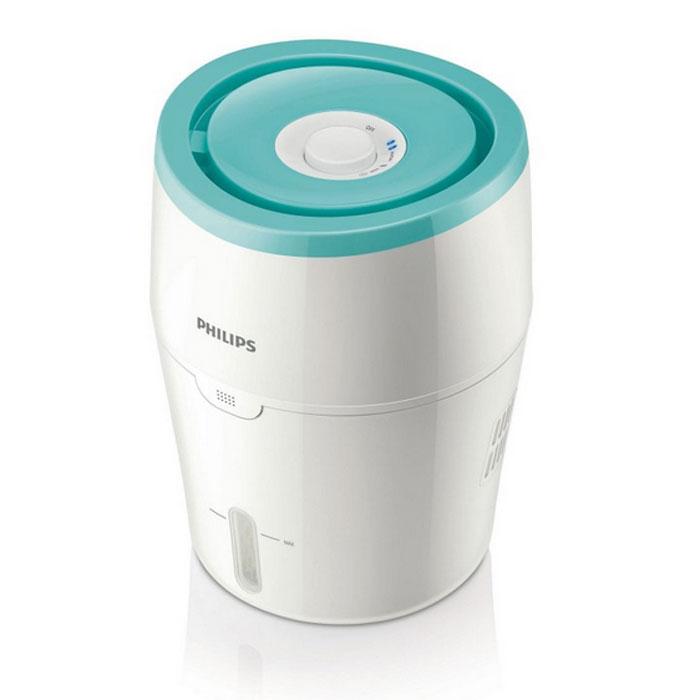 Увлажнитель воздуха Philips HU4801/01 с функцией очищения185Увлажнитель воздуха от Philips максимально эффективно и безопасно решает проблему сухости воздуха. Он равномерно распределяет увлажненный воздух по комнате, без бактерий, белой пыли и влажных полов. Равномерно распределяет увлажненный воздух по комнате:Равномерно распределяет увлажненный воздух по комнате. Благодаря увлажнителю воздуха в вашем доме будет дышаться легко и свободно.Гигиеничный и безопасный в использовании, без белой пыли и влажных полов:Этот увлажнитель воздуха от Philips оснащен современной технологией холодного испарения и действует в три этапа. На первом сухой неблагоприятный для здоровья воздух поступает в увлажнитель, где на увлажняющем картридже оседают крупные загрязнения и шерсть животных. На втором этапе при помощи современной технологии холодного испарения и специального увлажняющего картриджа происходит очищение воды от всех бактерий и вирусов и насыщение сухого воздуха молекулами чистой воды. На третьем этапе чистый увлажненный воздух подается в помещение и равномерно распределяется по комнате, обеспечивая комфорт Вам и Вашей семье. Увлажнение до комфортного уровня:Функция блокировки системы контроля качества воздуха. Автоотключение увлажнителя в случае отсутствия в нем воды:Как только в резервуаре заканчивается вода, срабатывает функция блокировки системы контроля качества воздуха, при этом увлажнитель отключается и загорается красный индикатор. Минималистичный дизайн и самая простая в классе очистка:Беспрецедентно простые в очистке увлажнители, как внутри, так и снаружи, в особенности резервуар для воды. Простая очистка устройства:Наполнить резервуар для воды увлажнителя воздуха Philips можно двумя способами: принесите воду в отдельной емкости, снимите верхнюю крышку резервуара и заполните его, либо извлеките резервуар и наполните его водой из-под крана. По вашему выбору можно установить бесшумный или обычный режим увлажнения две скорости увлажнения