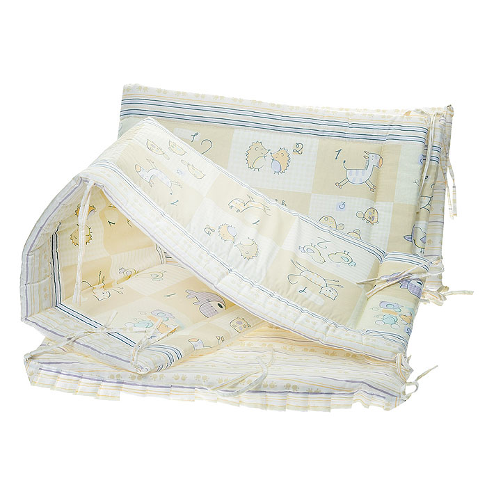 """Бампер в кроватку """"Считалочка"""" состоит из четырех частей и закрывает весь периметр кроватки. Бортик крепится к кроватке с помощью специальных завязок, благодаря чему его можно поместить в любую детскую кроватку. Бампер выполнен из бязи - натурального хлопка безупречной выделки. Деликатные швы рассчитаны на прикосновение к нежной коже ребенка. Бампер оформлен изображениями милых зверюшек, их количество рядом с изображением обозначено цифрой. Наполнителем служит холлкон - эластичный синтетический материал, экологически безопасный и гипоаллергенный, обладающий высокими теплозащитными свойствами. Бампер защитит ребенка от возможных ударов о деревянные или металлические части кроватки. Бортик подходит для кроватки размером 120 см х 60 см."""