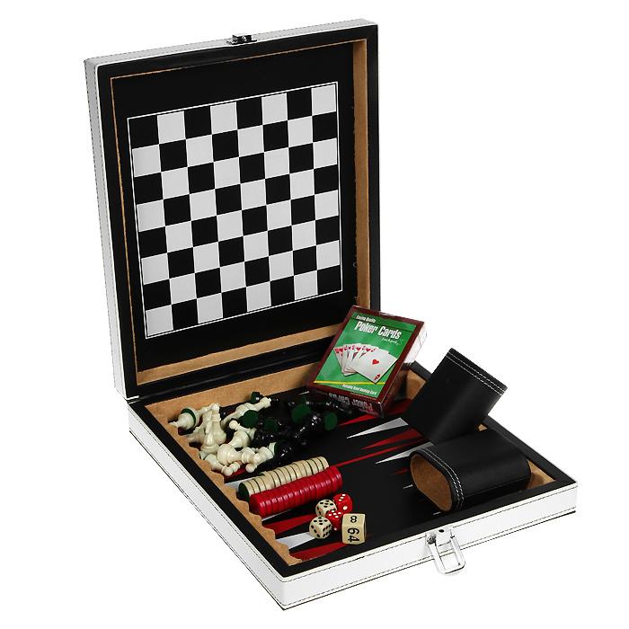 Набор игр 4в1 Premium Edition. MAEG013С92002Набор игр 4в1 Premium Edition включает шахматы, шашки, нарды и покер. В наборе имеется колода карт, 32 шахматные фигуры, 30 фишек, 5 игральных костей, 2 чашки для костей и мешочек для фишек. Предметы набора выполнены из высококачественных матеиалов и упакованы в элегантный кейс, обтянутый искусственной кожей белого и черного цвета и оформленный декоративной контрастной стежкой. Закрывается кейс на металлический замок. Внутренняя поверхность - игровое поле для шахмат и шашек и игровое поле для нард.Шахматы, шашки, нарды и покер - это увлекательные игры, которые помогут развить логическое мышление и позволят вам интересно и с пользой провести время. В наборе - подробная инструкция с описанием правил игры. Характеристики: Материал: пластик, текстиль, искусственная кожа, картон. Размер колоды карт: 6,5 см х 9 см х 2 см. Размер стакана для костей: 6 см х 3,5 см х 6 см. Размер мешочка: 6 см х 11 см. Высота шахматной фигуры: 2,5 см - 4 см. Диаметр фишки: 1,8 см. Размер кейса: 23 см х 25 см х 5 см. Артикул: MAEG013С.