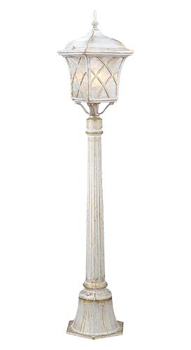 Светильник садово-парковый Прованс на столбе. L&L6180AZ-0307Уличный светильник с патинированной отделкой Luck & Light Прованс, имитирующей выгоревшую на солнце поверхность, создаёт стиль провинциальных французских домов. Рассеиватель из матового стекла с решёткой делает свет мягким для глаз. Характеристики:Материал: металл, стекло. Количество ламп: 1 (не входит в комплект). Размер светильника: 111 см х 19 см. Размер упаковки: 100 см х 23 см х 20 см. Степень зашиты: IP44.