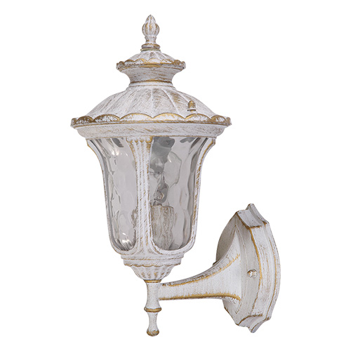 Светильник садово-парковый Петергоф настенный. L&L5149W4612754052110Уличный светильник белого цвета с золотой патиной Luck & Light Петергоф создан для загородных резиденций в стиле Петродворца с его фонтанами и скульптурами. Патинированная отделка арматуры делает его ещё более старинным, а хорошо проработанные детали и элементы изысканным. Его свет создаст уютную и загадочную атмосферу вашего сада. Характеристики:Материал: металл, стекло. Количество ламп: 1 (не входит в комплект). Размер светильника: 22 см х 37 см х 18,5 см. Размер упаковки: 30 см х 24 см х 20 см. Степень зашиты: IP44.