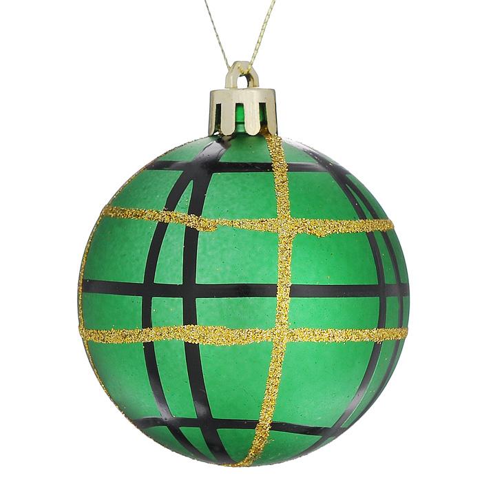 Набор подвесных новогодних украшений Шары, цвет: зеленый, 6 шт. 3228226930Набор подвесных украшений состоит из 6 шаров, выполненных из пластика зеленого цвета и декорированных черными и золотистыми полосками. Набор шаров украсит новогоднюю елку и создаст теплую и уютную атмосферу праздника.Шарики упакованы в пластиковую коробку.Елочная игрушка - символ Нового года. Она несет в себе волшебство и красоту праздника. Создайте в своем доме атмосферу веселья и радости, украшаявсей семьейновогоднюю елку нарядными игрушками, которые будут из года в год накапливать теплоту воспоминаний. Характеристики:Материал: пластик, текстиль. Цвет: зеленый. Диаметр шара: 6 см. Комплектация: 6 шт. Размер упаковки: 17,5 см х 11,5 см х 6 см. Артикул: 32282.