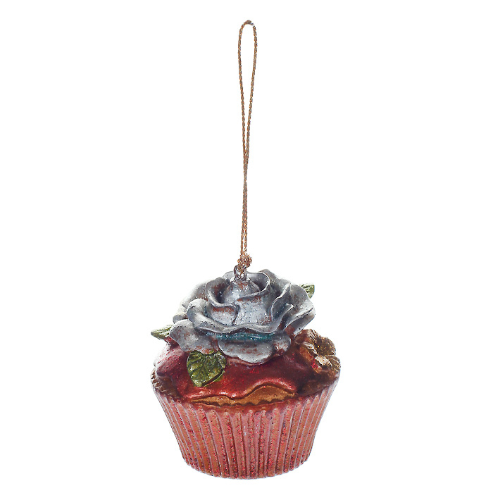 Новогоднее подвесное украшение Пирожное. 254551117833Новогоднее украшение, выполненное из пластика в виде кекса с розочкой, украшено блестками. Вы можете подвесить его в любом месте, где оно будет удачно смотреться, и радовать глаз. Кроме того, это украшение - отличный вариант подарка для ваших близких и друзей. Новогодние украшения всегда несут в себе волшебство и красоту праздника. Создайте в своем доме атмосферу тепла, веселья и радости, украшая его всей семьей. Характеристики:Материал: пластик. Размер украшения: 5 см х 5 см х 5,5 см. Артикул: 25455.