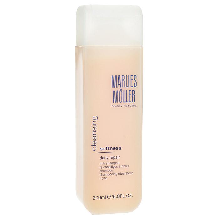 Marlies Moller Шампунь Softness, ежедневный, восстанавливающий, обогащенный, 200 млPRV4912828Шампунь нежно-абрикосового цвета, обладает легкой кремообрзной текстурой, обеспечивает деликатное очищение и интенсивный питательный уход без ощущения жирности. Рекомендуется для жестких, непослушных и толстых волос. Шампунь разглаживает волосы и облегчает их расчесывание. Премиальный уход с профессиональным эффектом. Высокая концентрация активных компонентов. Мягкое средство без силиконов, позволяет частое применение.В зависимости от длины волос возьмите небольшое количество шампуня (размером с 1-2 лесных ореха) и вспеньте его в ладонях. Легкими круговыми массажными движениями нанесите шампунь, расположив одну руку спереди, другую - на затылке. Повторите массажные движения столько раз, сколько Вам нравится. Тщательно ополосните голову.