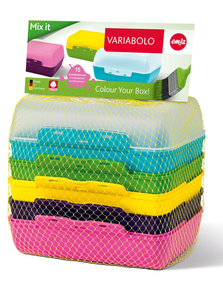 Набор-трансформер Emsa Variabolo, цвет: мультиколор, 6 шт, 16 х 11 х 14 смVT-1520(SR)Набор контейнеров-трансформер состоит из 6 цветных половинок, которые позволяют собрать 15 цветовых комбинаций. Этот набор изготовлен из нетоксичного материала. Он удобен, использовать для хранения детских завтраков. Он практичен, красив и каждый день может быть разным, что порадует вашего ребенка. Характеристики: Материал: полипропилен. Размер контейнера: 16 см х 11 см х 14 см. Размер упаковки: 16 см х 11 см х 16 см.