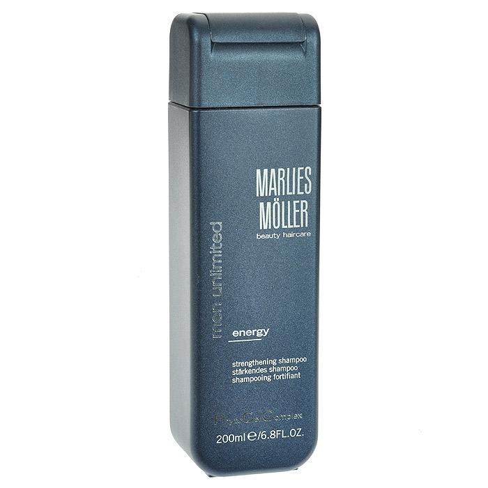 Marlies Moller Шампунь Men Unlimited для волос, укрепляющий, мужской, 200 млFS-54100Прозрачный и очень мягкий шампунь обеспечивает глубокое очищение, увлажнение и укрепление волос благодаря высокотехнологичной комбинации ценных ингредиентов. Волосы выглядят естественно и приобретают здоровый блеск. Морской аромат даёт заряд свежести на весь день. Рекомендуется для ежедневного использования. Не содержит силиконы.В зависимости от длины волос возьмите небольшое количество шампуня (размером с 1-2 лесных ореха) и вспеньте его в ладонях. Легкими круговыми массажными движениями нанесите шампунь, расположив одну руку спереди, другую - на затылке. Повторите массажные движения столько раз, сколько Вам нравится. Тщательно ополосните голову.