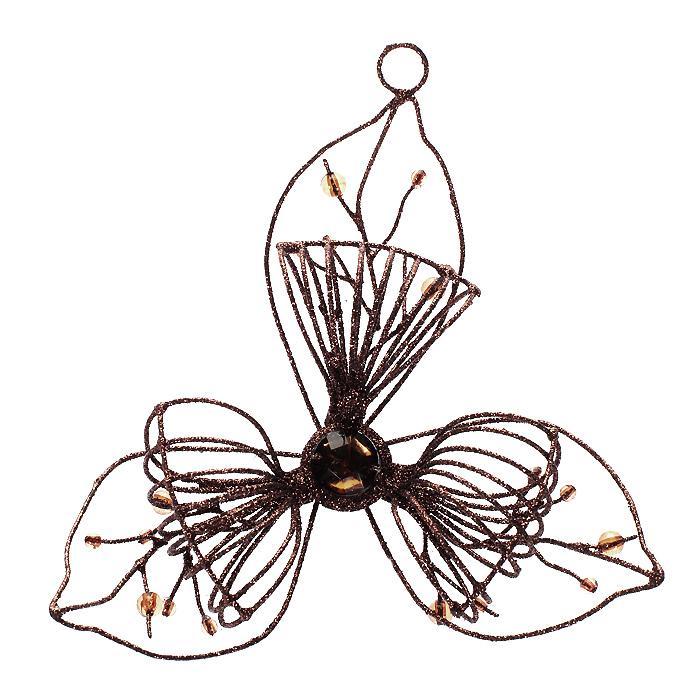 Новогоднее подвесное украшение Цветок, цвет: коричневый. 116960162-1100Оригинальное новогоднее украшение «Цветок» прекрасно подойдет для праздничного декора вашего дома и новогодней ели. Украшение выполнено из металлической проволоки, оформленной блестками. Центральная часть изделия украшена крупным стразом желтого цвета. Украшение оснащено специальным отверстием для ленты или ниточки. Елочная игрушка - символ Нового года. Она несет в себе волшебство и красоту праздника. Создайте в своем доме атмосферу веселья и радости, украшая новогоднюю елку нарядными игрушками, которые будут из года в год накапливать теплоту воспоминаний. Характеристики:Материал: металл, блестки, стразы, пластик. Цвет: коричневый. Размер игрушки: 13 см х 3,5 см х 12,5 см. Артикул: 11696.