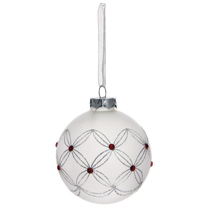Новогоднее подвесное украшение Шар, цвет: белый. 30509020263Новогоднее подвесное украшение «Шар» выполнено из белого матового стекла и декорировано блестками и стразами. С помощью специальной ленты украшение можно повесить в любом понравившемся вам месте. Но, конечно, удачнее всего такой шар будет смотреться на праздничной елке. Елочная игрушка - символ Нового года. Она несет в себе волшебство и красоту праздника. Создайте в своем доме атмосферу веселья и радости, украшая новогоднюю елку нарядными игрушками, которые будут из года в год накапливать теплоту воспоминаний. Коллекция декоративных украшений из серии Magic Time принесет в ваш дом ни с чем несравнимое ощущение волшебства! Характеристики:Материал: стекло, металл, текстиль. Цвет: белый. Диаметр игрушки: 8 см. Размер упаковки: 9,5 см х 9,5 см х 9 см. Артикул: 30509.
