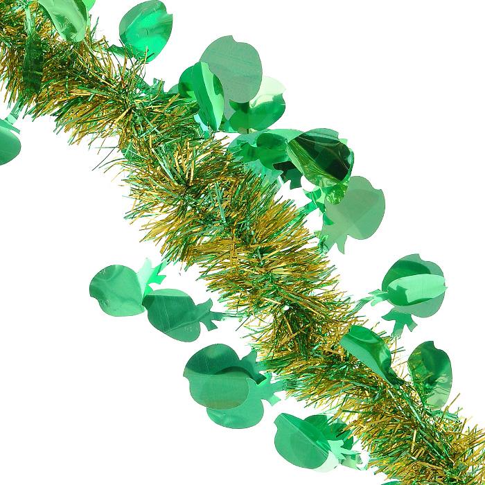 Новогодняя мишура Magic Time, диаметр 5 см, длина 200 см, цвет: зеленый, золотистый. 2693425362Новогодняя мишура Magic Time зеленого и золотистого цвета, выполненная из ПВХ, поможет вам украсить свой дом к предстоящим праздникам. А новогодняя елка с таким украшением станет еще наряднее. Мишура с декоративными элементами в форме яблок армирована, то есть имеет проволоку внутри и способна сохранять приданную ей форму.Новогодней мишурой можно украсить все, что угодно - елку, квартиру, дачу, офис - как внутри, так и снаружи. Можно сложить новогодние поздравления, буквы и цифры, мишурой можно украсить и дополнить гирлянды, можно выделить дверные колонны, оплести дверные проемы.Коллекция декоративных украшений из серии Magic Time принесет в ваш дом ни с чем несравнимое ощущение волшебства! Создайте в своем доме атмосферу тепла, веселья и радости, украшая его всей семьей. Характеристики:Материал: ПВХ. Цвет: зеленый, золотистый. Длина: 200 см. Диаметр: 5 см. Артикул: 26934.