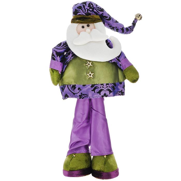Новогоднее украшение Санта, высота 41 см. 2651937914Новогоднее украшение Санта, выполненное из полиэстера, отлично подойдет для декорации вашего дома. Украшение выполнено в виде фигурки Санта Клауса в фиолетовом колпачке с бубенчиком на конце. Ноги и руки Санты сгибаются.Вы можете поставить фигурку в любом месте, где она будет удачно смотреться, и радовать глаз. Кроме того, это украшение - отличный вариант подарка для ваших близких и друзей.Новогодние украшения всегда несут в себе волшебство и красоту праздника. Создайте в своем доме атмосферу тепла, веселья и радости, украшая его всей семьей. Характеристики:Материал:полиэстер, металл. Цвет: зеленый, сиреневый. Размер фигурки (Ш х Г х В):25 см х 7,5 см х 41 см. Размер упаковки: 26 см х 8 см х 42 см. Артикул: 26519.