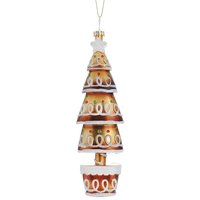 Новогоднее подвесное украшение Елка, цвет: золотистый, белый. 2590406008A7401Оригинальное новогоднее украшение выполнено из пластика в виде нарядной елочки, украшенной блестками. С помощью специальной петельки украшение можно повесить в любом понравившемся вам месте. Но, конечно же, удачнее всего такая игрушка будет смотреться на праздничной елке.Новогодние украшения приносят в дом волшебство и ощущение праздника. Создайте в своем доме атмосферу веселья и радости, украшая всей семьей новогоднюю елку нарядными игрушками, которые будут из года в год накапливать теплоту воспоминаний. Коллекция декоративных украшений из серии Magic Time принесет в ваш дом ни с чем несравнимое ощущение волшебства! Характеристики:Материал: пластик, текстиль. Размер украшения: 17 см х 5,5 см х 3 см. Артикул: 25904.