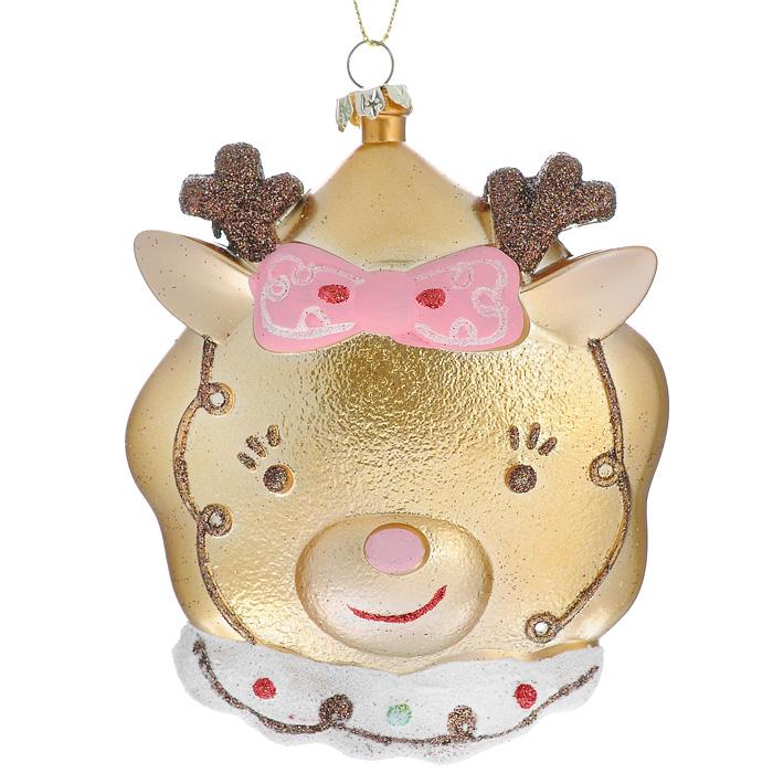 Новогоднее подвесное украшение Олень, цвет: золотистый. 2588725215Оригинальное новогоднее украшение Олень прекрасно подойдет для праздничного декора дома и новогодней ели. Украшение выполнено из пластика и оформлено блестками. Благодаря плотному корпусу изделие никогда не разобьется, поэтому вы можете быть уверены, что оно прослужит вам долгие годы. С помощью текстильной петельки его можно повесить в любом понравившемся вам месте. Но, конечно, удачнее всего такая игрушка будет смотреться на праздничной елке.Елочная игрушка - символ Нового года. Она несет в себе волшебство и красоту праздника. Создайте в своем доме атмосферу веселья и радости, украшая новогоднюю елку нарядными игрушками, которые будут из года в год накапливать теплоту воспоминаний. Коллекция декоративных украшений из серии Magic Time принесет в ваш дом ни с чем несравнимое ощущение волшебства! Характеристики:Материал: пластик, текстиль, блестки. Размер украшения (ДхШхВ): 9 см х 3 см х 12 см. Цвет: золотистый. Артикул: 25887.