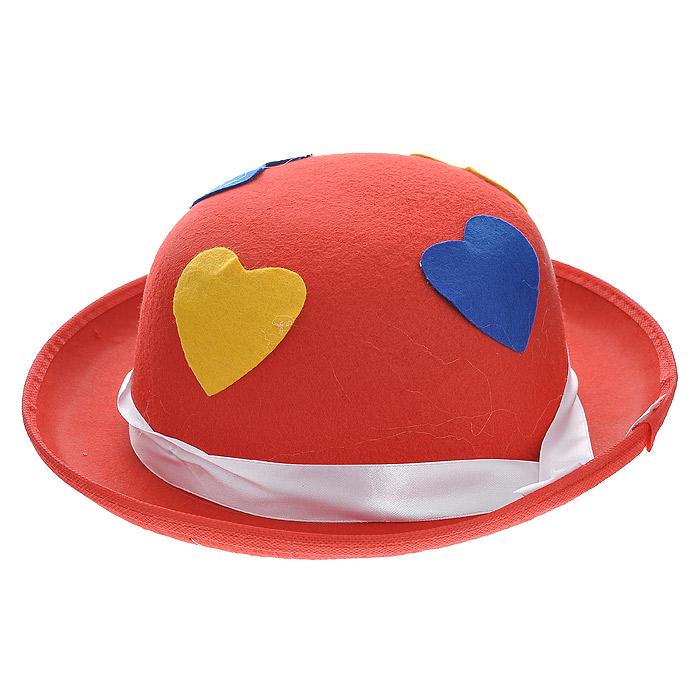 Маскарадная шляпа, цвет: красный. 3131825930У вас намечается веселая вечеринка или маскарад? Маскарадная шляпа внесет нотку задора и веселья в праздник и станет завершающим штрихом в создании праздничного образа. Шляпа, выполненная из синтетического фетра, украшена аппликациями в виде сердечек желтого и синего цвета, а также атласной лентой белого цвета.Веселое настроение и масса положительных эмоций вам будут обеспечены! Характеристики:Материал:синтетический фетр. Цвет:красный. Обхват головы:58 см. Общий размер шляпы:30 см х 28 см х 10 см. Артикул:31318.