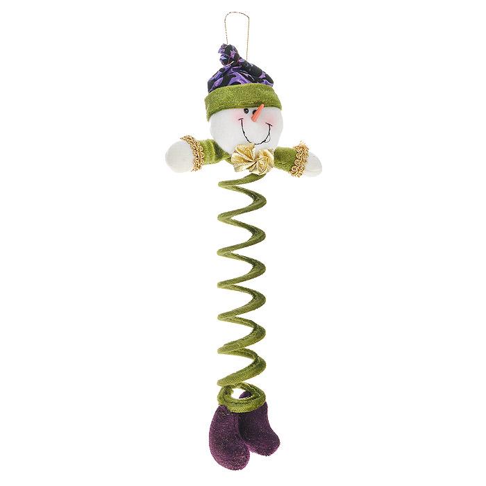 Новогоднее подвесное украшение Снеговик. 2652526988Изящное новогоднее украшение в виде снеговика выполнено из полиэстера. Тельце снеговика на пружине, башмачки для утяжеления набиты песком. С помощью специальной петельки украшение можно повесить в любом понравившемся вам месте. Но, конечно, удачнее всего такая игрушка будет смотреться на праздничной елке.Новогодние украшения приносят в дом волшебство и ощущение праздника. Создайте в своем доме атмосферу веселья и радости, украшая всей семьей новогоднюю елку нарядными игрушками, которые будут из года в год накапливать теплоту воспоминаний. Характеристики:Материал: полиэстер, песок. Цвет: зеленый, фиолетовый. Размер украшения (в растянутом виде): 29 см х 11 см х 4 см. Артикул: 26525.