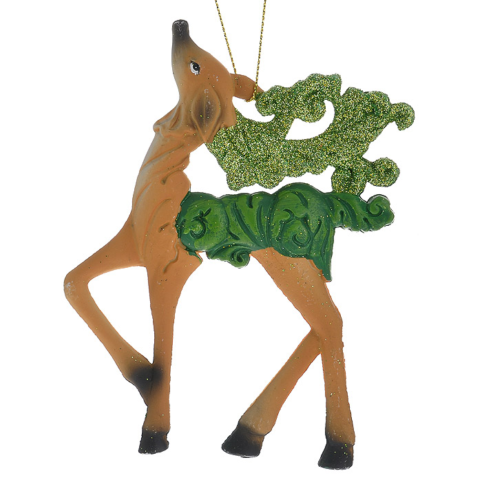 Новогоднее подвесное украшение Олень, цвет: бежевый. 25873NLED-454-9W-BKОригинальное новогоднее украшение «Олень» прекрасно подойдет для праздничного декора дома и новогодней ели. Украшение выполнено из пластика и оформлено зелеными блестками. С помощью специальной петельки его можно повесить в любом понравившемся вам месте. Но, конечно, удачнее всего такая игрушка будет смотреться на праздничной елке.Елочная игрушка - символ Нового года. Она несет в себе волшебство и красоту праздника. Создайте в своем доме атмосферу веселья и радости, украшая новогоднюю елку нарядными игрушками, которые будут из года в год накапливать теплоту воспоминаний. Коллекция декоративных украшений из серии Magic Time принесет в ваш дом ни с чем несравнимое ощущение волшебства! Характеристики:Материал: пластик, блестки, текстиль. Цвет: бежевый. Размер украшения: 9 см х 12,5 см. Артикул: 25873.