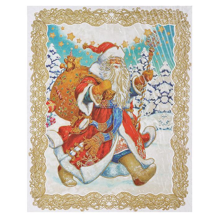 Новогоднее оконное украшение Дед Мороз. 3125109840-20.000.00Новогоднее оконное украшение представляет собой красивую наклейку, оформленную изображением веселого Деда мороза с мешком подарков. Наклейка декорирована глиттером (золотистыми блестками). Крепится к гладкой поверхности стекла посредством статического эффекта. После использования не оставляет следов на окнах. Новогодние наклейки помогут вам украсить интерьер дома к предстоящим праздникам и почувствовать волшебную атмосферу Нового года. Наклейте украшения на стекла и наслаждайтесь прекрасным видом из окна. Коллекция декоративных украшений из серии Magic Time принесет в ваш дом ни с чем несравнимое ощущение волшебства! Характеристики:Материал: ПВХ пленка, блестки. Размер наклейки: 30 см х 38 см. Размер упаковки: 30 см х 44 см х 0,5 см. Артикул: 31251.