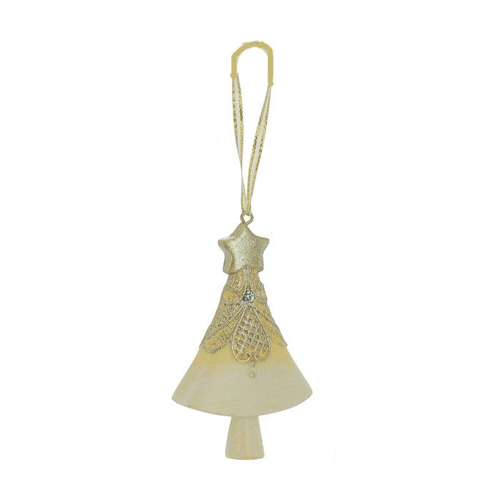 Новогоднее подвесное украшение Елка, цвет: бежевый, золотистый. 2596325364Оригинальное новогоднее украшение выполнено из полирезины в виде елочки, украшенной блестками. С помощью специальной петельки украшение можно повесить в любом понравившемся вам месте. Но, конечно же, удачнее всего такая игрушка будет смотреться на праздничной елке.Новогодние украшения приносят в дом волшебство и ощущение праздника. Создайте в своем доме атмосферу веселья и радости, украшая всей семьей новогоднюю елку нарядными игрушками, которые будут из года в год накапливать теплоту воспоминаний. Коллекция декоративных украшений из серии Magic Timeпринесет в ваш дом ни с чем несравнимое ощущение волшебства! Характеристики:Материал: полирезина, текстиль. Цвет: бежевый, золотистый. Размер украшения: 9 см х 5,5 см х 2 см. Артикул: 25963.
