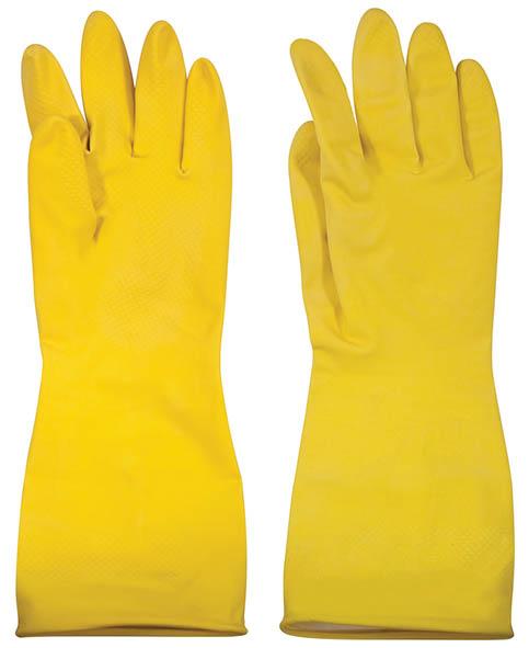 Перчатки хозяйственные Лотос, с внутренним напылением, цвет: желтый. Размер XL10503Хозяйственные перчатки применяются для защиты рук при бытовых, садоводческих и строительных работах. Натуральный латекс придает перчаткам прочность, одновременно обеспечивая рукам чувствительность. Рифленая поверхность ладони обеспечивает защиту против скольжения.