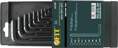 Набор шестигранных Fit, 9 шт, 1,5-10 мм98293777Набор ключей шестигранных ключей, изготовленных из высококачественной термообработанной хром-ванадиевой стали. Характеристики: Материал: сталь. Размеры ключей: 1,5 мм, 2 мм, 2,5 мм, 3 мм, 4 мм, 5 мм, 6 мм, 8 мм, 10 мм. Размер упаковки: 15 см x 9,5 см x 1,5 см.