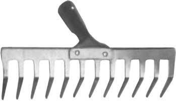 Грабли FIT, без черенка, прямой зуб, 12 зубьев, 35 х 10 см391602Грабли с прямыми зубьями FIT используются, как правило, для сбора опавшей листвы, скошенной травы, а также для уборки мусора. Изготовлены из низкоуглеродистой стали с напылением из ПВХ. Поставляются без черенка. Характеристики: Материал: сталь. Размер рабочей части: 35 см х 10 см. Диаметр под черенок: 3 см. Размер упаковки: 35 см х 11 см х 10 см.