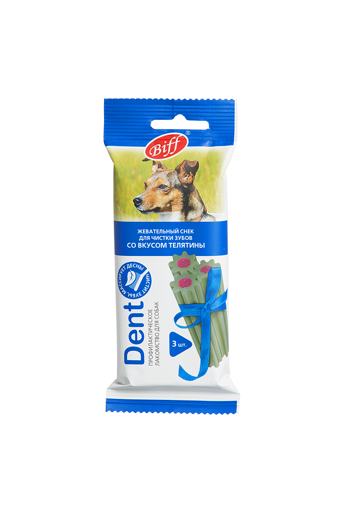 Лакомство Biff Dent для собак средних пород, жевательный снек со вкусом телятины, 75 г, 3 шт2889Лакомство Biff Dent со вкусом телятины - это жевательный снек для собак, необходимый для снятия мягкого зубного налета, снижения уровня зубного камня и массажа для десен за счет специально разработанной формы и текстуры. Используется в качестве лакомства или поощрения для собак средних пород всех возрастов. Рекомендуемая норма потребления составляет 10% от суточного рациона животного.Состав: рис, мясо и субпродукты (в том числе 20% телятины), белок растительный, клетчатка, лецитин, масла и животные жиры, дрожжевой экстракт, минеральные вещества, корень сельдерея, фитокомплекс экстрактов растений, натуральные ароматизаторы, хлорофилл.Пищевая ценность в 100 г: белки - 7 г, жиры - 2,5 г, зола - 2,5 г, клетчатка - 2 г, влага - 20 г.Энергетическая ценность в 100 г: 230 ккал.Вес: 75 г.