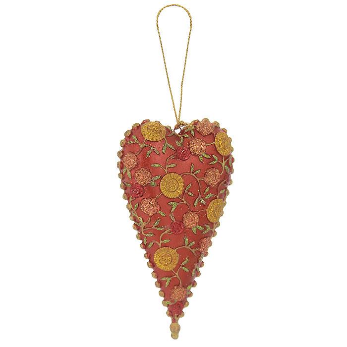 Новогоднее подвесное украшение Сердце. 25427Ф21-2163Оригинальное новогоднее украшение Сердце прекрасно подойдет для оформления дома и праздничной ели. Изделие выполнено из пластика в виде сердца, украшенного рельефными цветочными узорами. С помощью текстильной петельки его можно повесить в любом понравившемся вам месте. Но, конечно, удачнее всего такая игрушка будет смотреться на праздничной елке. Елочная игрушка - символ Нового года. Она несет в себе волшебство и красоту праздника. Создайте в своем доме атмосферу веселья и радости, украшая новогоднюю елку нарядными игрушками, которые будут из года в год накапливать теплоту воспоминаний. Коллекция декоративных украшений из серии Magic Time принесет в ваш дом ни с чем несравнимое ощущение волшебства! Характеристики:Материал: пластик, текстиль, блестки. Цвет: красный, золотистый. Размер украшения (ДхШхВ): 6 см х 2 см х 12 см. Артикул: 25427.