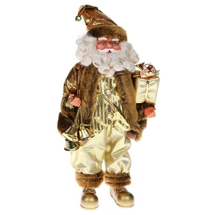 Новогодняя декоративная фигурка Санта, высота 46 см. 31025THN132NДекоративная фигурка Санта, выполненная из пластика и ткани, подойдет для оформления новогоднего интерьера и принесет с собой атмосферу радости и веселья. Санта одет в нарядный костюм золотистого цвета, отороченый мехом, на голове - золотистый колпак с металлическим бубенчиком. В одной руке Санта держит красиво оформленный подарок, в другой - три звенящих колокольчика. Его добрый вид и очаровательная густая, белая борода притягивают к себе восторженные взгляды.Коллекция декоративных украшений из серии Magic Time принесет в ваш дом ни с чем несравнимое ощущение волшебства!Новогодние украшения всегда несут в себе волшебство и красоту праздника. Создайте в своем доме атмосферу тепла, веселья и радости, украшая его всей семьей. Характеристики:Материал: текстиль, пластик, металл. Цвет: золотистый.Размер фигурки (Д х Ш х В):22 см х 10 см х 46 см. Размер упаковки:46 см х 21 см х 14 см. Изготовитель: Китай. Артикул:31025.