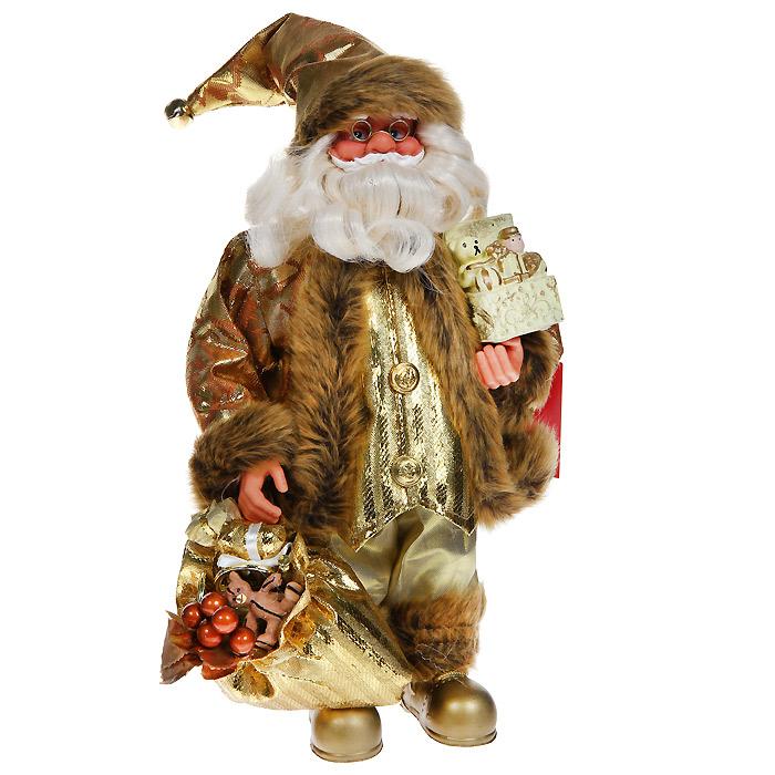 Новогодняя декоративная фигурка Санта, 30 см. 31019THN132NНовогодняя декоративная фигурка выполнена из пластика в виде Санта Клауса. Санта одет в золотистые брюки и парчовую шубу с опушкой. На голове - колпак с мехом и бубенчиком на конце. В одной руке Санта держит мешок с подарками, в другой руке - коробочку с подарками. Его добрый вид и очаровательная густая, белая борода притягивают к себе восторженные взгляды. Декоративная фигурка Санта подойдет для оформления новогоднего интерьера и принесет с собой атмосферу радости и веселья. Коллекция декоративных украшений из серии «Magic Time» принесет в ваш дом ни с чем не сравнимое ощущение волшебства!Новогодние украшения всегда несут в себе волшебство и красоту праздника. Создайте в своем доме атмосферу тепла, веселья и радости, украшая его всей семьей. Характеристики: Материал: пластик, текстиль. Размер фигурки: 16 см х 10 см х 30 см. Размер упаковки: 16 см х 10 см х 30 см. Артикул: 31019.