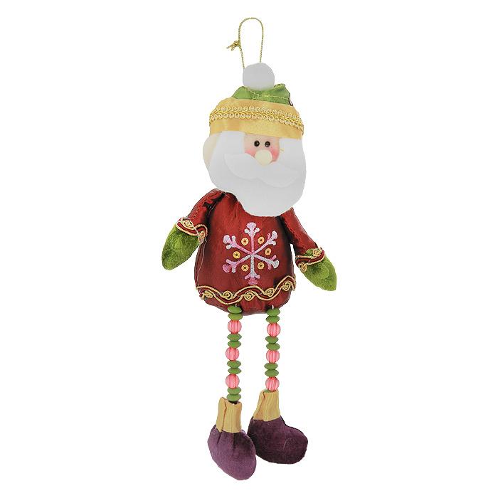 Новогоднее подвесное украшение Санта. 2653825929Новогоднее украшение Санта выполнено из полиэстера в виде Санта Клауса на длинных ногах, украшенных бусинами. Тело Санты мягконабивное. Костюм декорирован вышивкой, золотистой тесьмой и пайетками. Это украшение - отличный вариант подарка для ваших близких и друзей.Вы можете повесить его в любом месте, где оно будет удачно смотреться, и радовать глаз. УкрашениеНовогодние украшения всегда несут в себе волшебство и красоту праздника. Создайте в своем доме атмосферу тепла, веселья и радости, украшая его всей семьей. Характеристики:Материал:полиэстер, пластик. Размер украшения: 28 см х 11 см х 4,5 см. Размер упаковки: 20 см х 13 см х 5 см. Артикул: 26538.