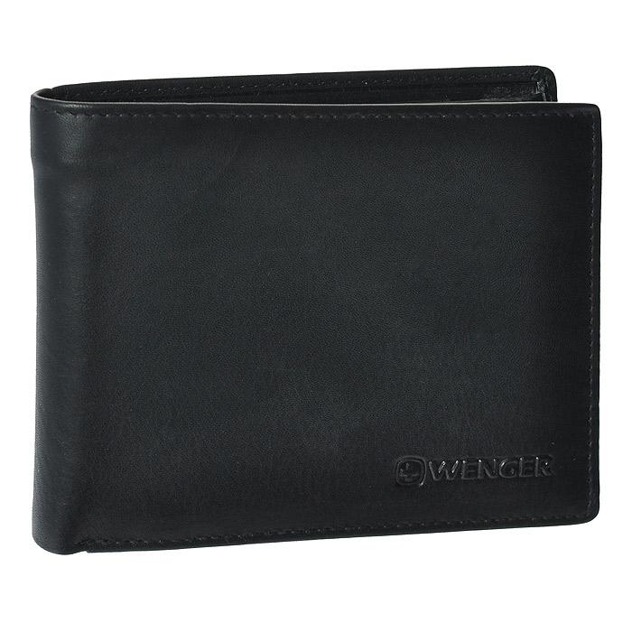 Портмоне Wenger, цвет: черный. WEW053.11INT-06501Портмоне Wenger выполнено из натуральной кожи черного цвета. Внутри находятся два отделения для купюр, шесть отделений для кредитных карт, визиток и прочих мелких бумаг, одно сетчатое отделение для документов, одно отделение на кнопке для мелочи, два потайных кармана. Это классическое портмоне непременно подойдет к вашему образу и порадует простотой и стилем. Портмоне упаковано в коробку из плотного картона с логотипом фирмы.По всем вопросам гарантийного и постгарантийного обслуживания рюкзаков, чемоданов, спортивных и кожаных сумок, а также портмоне марок Wenger и SwissGear вы можете обратиться в сервис-центр, расположенный по адресу: г. Москва, Саввинская набережная, д.3. Тел: (495) 788-39-96, (499) 248-56-56, ежедневно с 9:00 до 21:00. Подробные условия гарантийного обслуживания приведены в гарантийном талоне, поставляемым в комплекте с каждым изделием. Бесплатный ремонт изделий производится при условии предоставления гарантийного талона и товарного/кассового чека, подтверждающего дату покупки. Характеристики: Материал: натуральная кожа, текстиль. Размер в сложенном виде: 12,5 см х 9,5 см х 2,5 см. Цвет: черный. Размер упаковки: 14 см х 11 см х 4 см. Изготовитель:Индия. Артикул: WEW053.11.