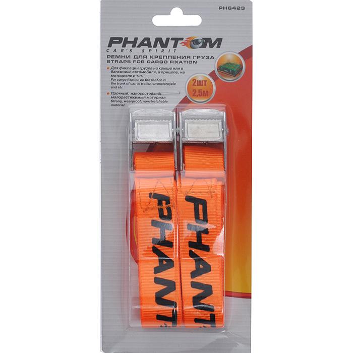 Ремень для крепления груза Phantom, 2 шт х 2,5 мdaf021Ремень предназначен для надежной и быстрой фиксации различных грузов на всех видах транспорта. Длина ремня легко регулируется от нескольких сантиметров до 2,5м. Фиксатор предотвращает ослабление ленты. Мягкая текстильная лента ремня не повреждает груз. Комплект содержит две стяжки.Характеристики:Материал: полиэстер, металл. Длина ремня: 2,5 м. Размер упаковки: 10 см х 22,5 см х 2,5 см. Производитель: Китай. Артикул:PH6423.