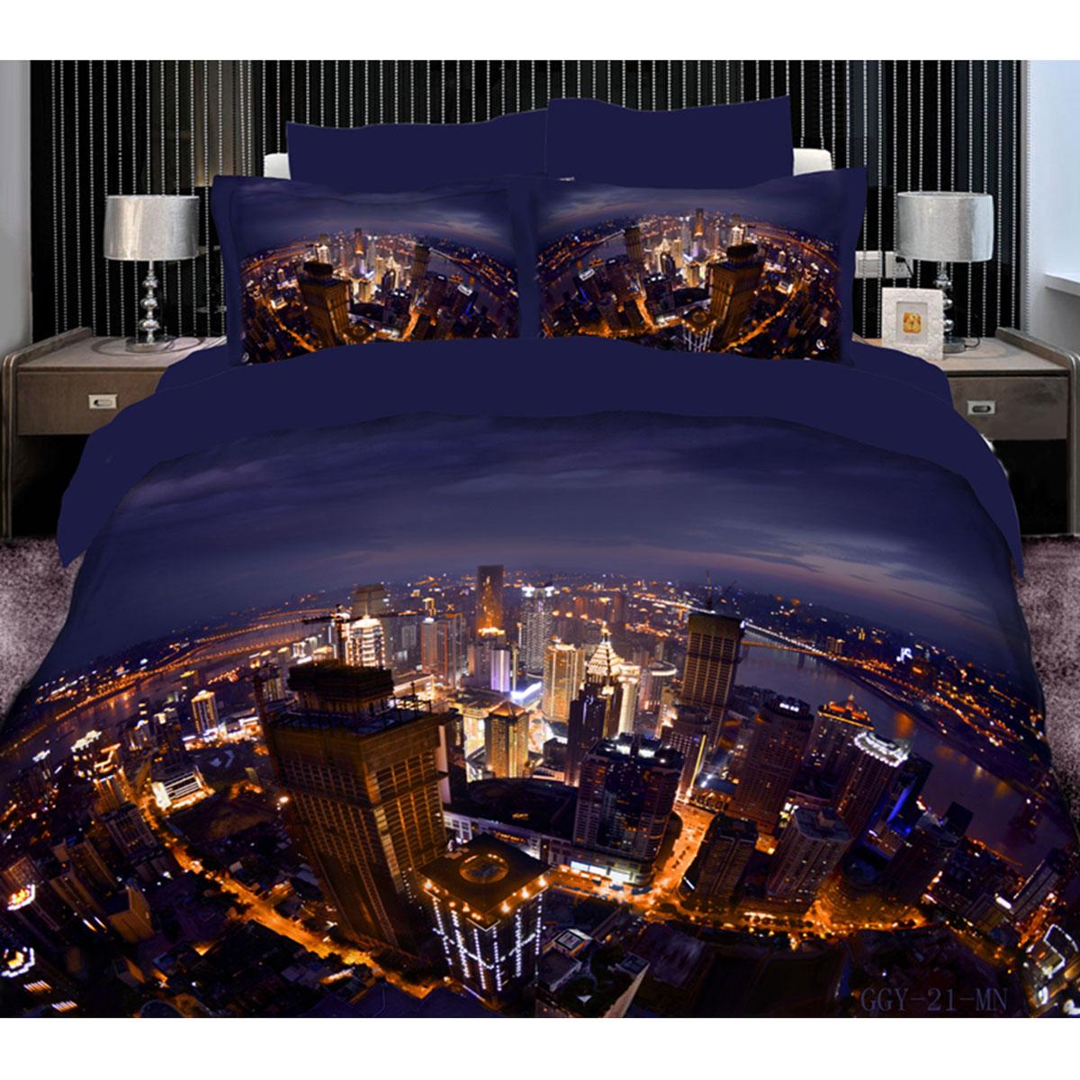 Постельное белье Коллекция Ночной город (Евро КПБ, сатин рамочный с эффектом 3D, наволочки 50х70)500_Хозяин тайгиКомплект постельного белья Коллекция Ночной город, изготовленный из рамочного сатина, поможет вам расслабиться и подарит спокойный сон. Постельное белье, оформленное 3D-изображением ночного города, имеет изысканный внешний вид и обладает яркостью и сочностью цвета. Комплект состоит из пододеяльника на молнии, простыни и двух наволочек с ушами. Благодаря такому комплекту постельного белья вы сможете создать атмосферу уюта и комфорта в вашей спальне.Сатин производится из высших сортов хлопка, а своим блеском, легкостью и на ощупь напоминает шелк. Такая ткань рассчитана на 200 стирок и более. Постельное белье из сатина превращает жаркие летние ночи в прохладные и освежающие, а холодные зимние - в теплые и согревающие. Благодаря натуральному хлопку, комплект постельного белья из сатина приобретает способность пропускать воздух, давая возможность телу дышать. Одно из преимуществ материала в том, что он практически не мнется и ваша спальня всегда будет аккуратной и нарядной. Характеристики: Страна: Россия. Материал: сатин (100% хлопок). Размер упаковки: 35 см х 30 см х 8 см. В комплект входят: Пододеяльник - 1 шт. Размер: 200 см х 220 см. Простыня - 1 шт. Размер: 240 см х 240 см. Наволочка с ушами - 2 шт. Размер: 50 см х 70 см. Высокие свойства белья торговой марки Коллекция основаны на умелом использовании вековых традиций и современных технологий производства и обработки тканей. Качество исходных материалов, внимание к деталям отделки, отличный пошив, воплощение новейших тенденций мировой моды позволяют постельному белью гармонично влиться в современное жизненное пространство и подарить ощущения удовольствия и комфорта. УВАЖАЕМЫЕ КЛИЕНТЫ! Обращаем ваше внимание, на тот факт, что изображенный на фотографии комплект постельного белья служит для демонстрации целого комплекта. Производитель оставляет за собой право без предупреждения изменять расцветку наволочек 