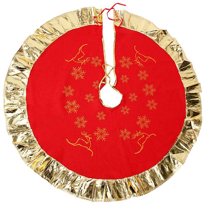 Новогоднее украшение Юбка для ели. 3209425418Новогоднее украшение Юбка для ели выполнено из синтетического фетра и полиэстера. Украшение представляет собой юбку красного цвета с золотистой окантовкой, украшенную рисунками снежинок и оленей, предназначенную для декорирования праздничной ели. Также с помощью данной юбки вы сможете изящно задрапировать основание ели. Удобные завязочки позволят быстро и комфортно украсить вашу ель.Новогодние украшения приносят в дом волшебство и ощущение праздника. Создайте в своем доме атмосферу веселья и радости с таким оригинальным новогодним украшением. Характеристики:Материал: синтетический фетр, полиэстер. Цвет: золотистый, красный. Диаметр юбки: 100 см. Артикул: 32094.
