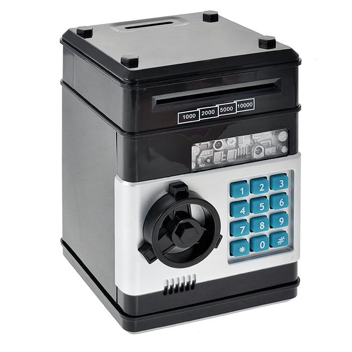 """Копилка """"Сейф"""", выполненная из пластика черного цвета, работает как настоящий сейф. Чтобы ее открыть, нужно ввести 4-значный цифровой пароль (настоящий пароль """"0000""""), затем прокрутить колесо и открыть дверь. При этом на дисплее загорится зеленая лампочка, которая будет гореть в течение 10 секунд, и будет воспроизводится скрипучий звук. Когда вы закончите, закройте дверь, чтобы заблокировать сейф. Пароль можно сменить. Для этого введите пароль """"0000"""", откройте дверь, удерживайте кнопку """"*"""" (при этом одновременно загорятся зеленая и красная лампочки), в течение 15 секунд введите новый пароль, нажмите кнопку """"#"""" (лампочки перестанут гореть), отпустите кнопку """"*"""" и закройте дверь. Копилка оснащена звуковым сопровождением. Когда вы вводите пароль, голос на английском языке говорит: """"Password please"""" (""""Пожалуйста, введите пароль""""). Если вы ввели неверный пароль, на дисплее загорается красная лампа и голос говорит: """"Oh, please try again"""" (""""Пожалуйста, попробуйте еще раз""""). Если..."""